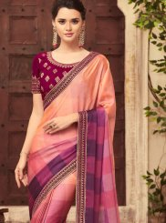 Magenta and Peach Shaded Saree