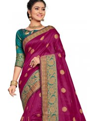 Magenta Art Silk Ceremonial Traditional Saree