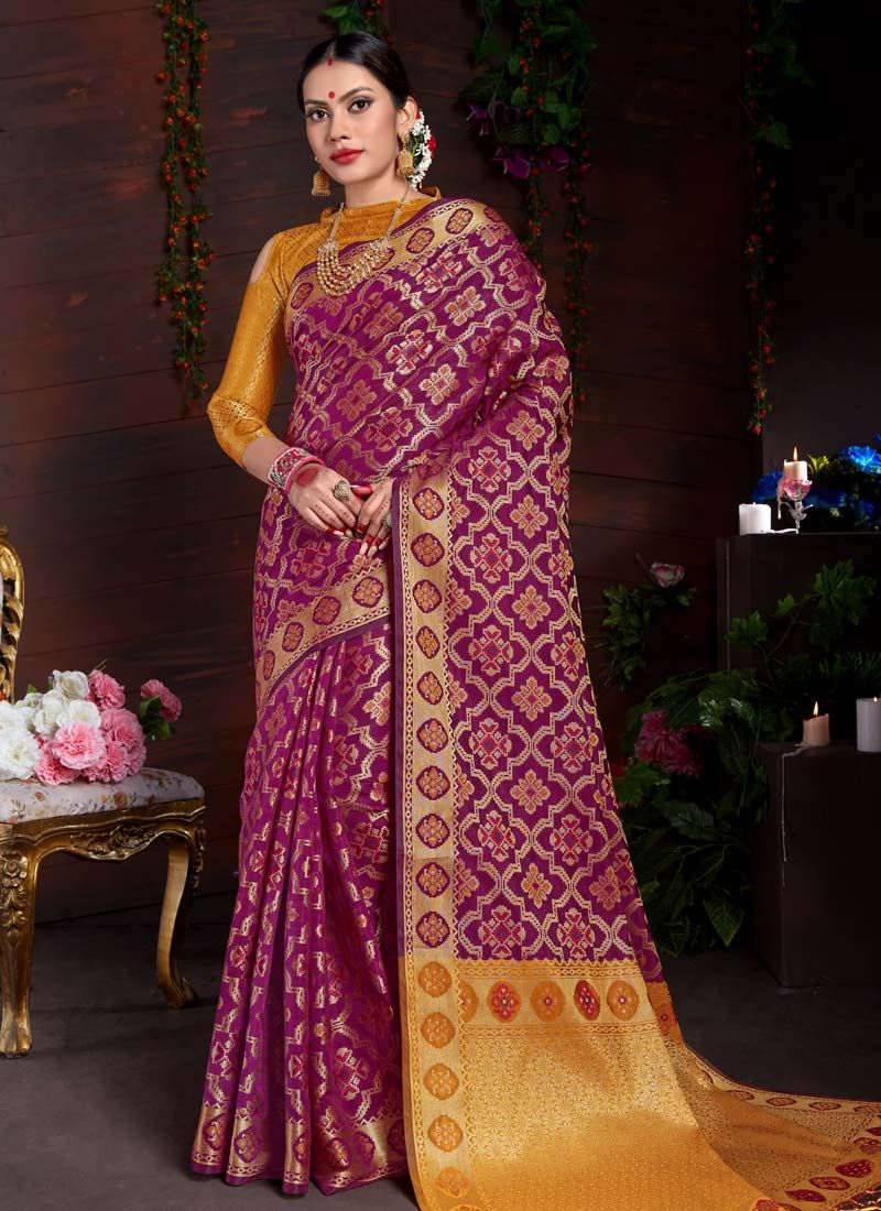 Magenta Art Silk Traditional Designer Saree