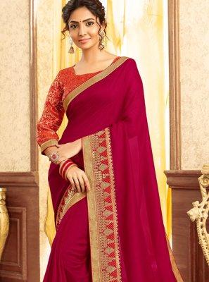 Magenta Chanderi Designer Traditional Saree