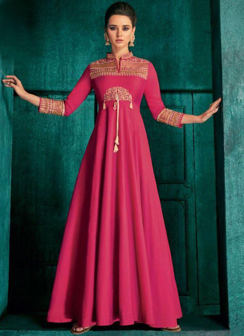 Magenta Color Anarkali Salwar Suit
