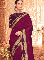 Magenta Color Designer Saree