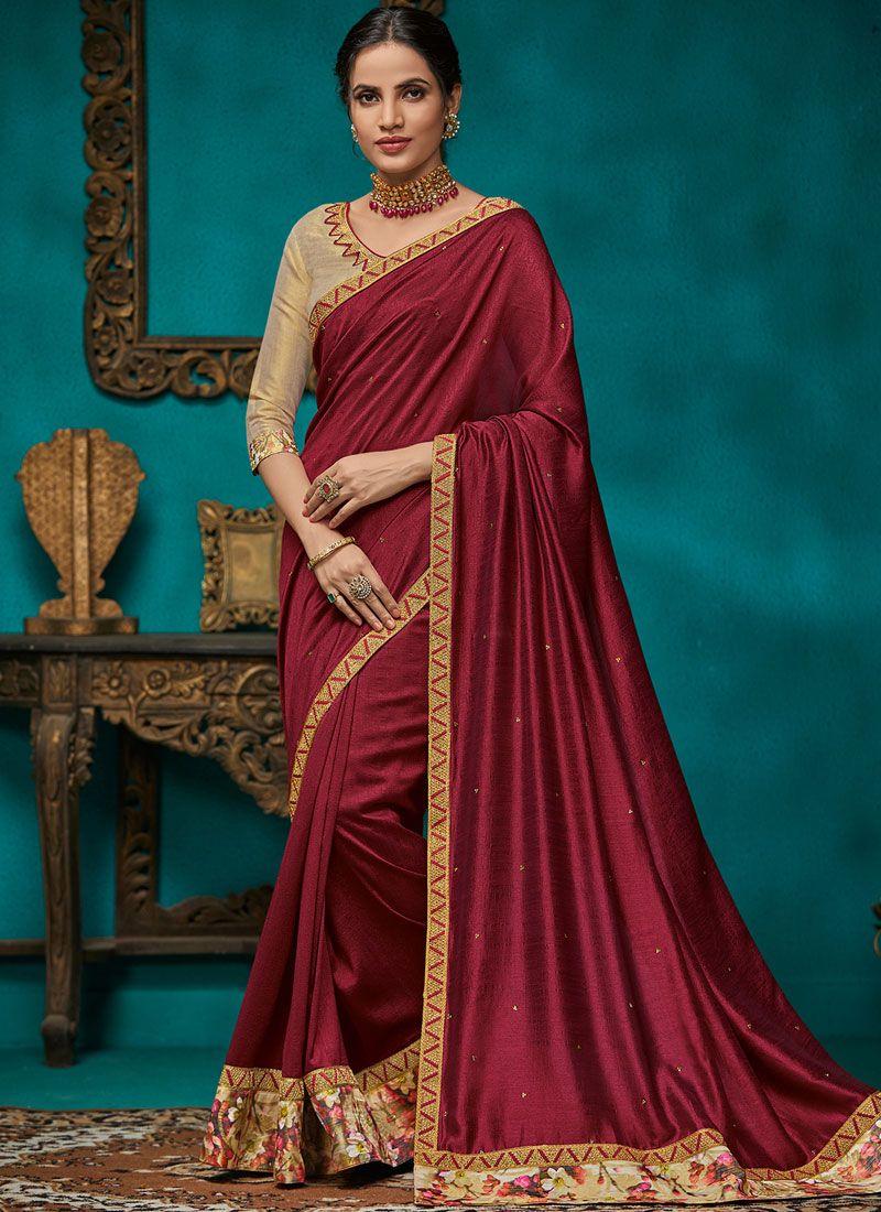 Magenta Color Traditional Saree