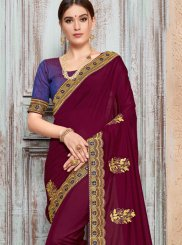 Magenta Embroidered Ceremonial Traditional Saree