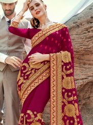 Magenta Embroidered Classic Saree