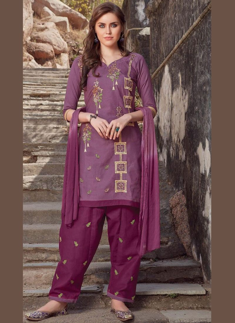 Magenta Embroidered Cotton Salwar Suit
