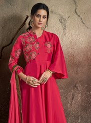 Magenta Embroidered Designer Gown