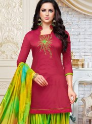 Magenta Embroidered Designer Patiala Suit