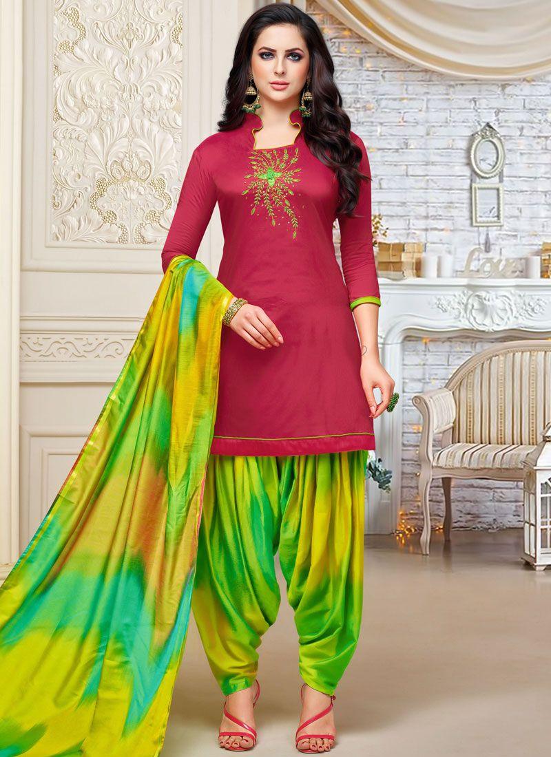 Magenta Embroidered Designer Patiala Suit