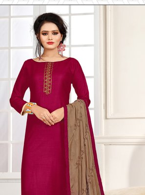 Magenta Embroidered Festival Churidar Salwar Suit