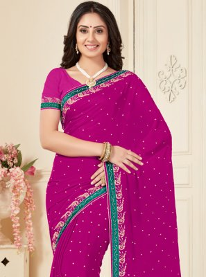 Magenta Embroidered Georgette Designer Traditional Saree