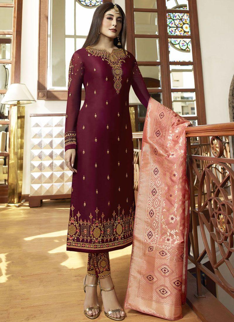 Magenta Embroidered Salwar Suit