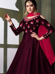 Magenta Embroidered Tafeta Silk Designer Gown