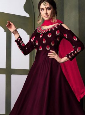 Wine Embroidered Tafeta Silk Designer Gown