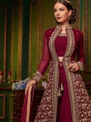 Magenta Faux Georgette Resham Designer Palazzo Suit