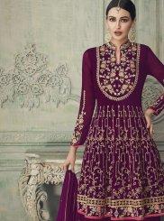 Magenta Georgette Designer Palazzo Suit
