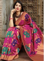Magenta Machine Embroidery  Designer Traditional Saree