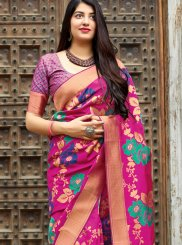 Magenta Machine Embroidery  Designer Traditional Saree