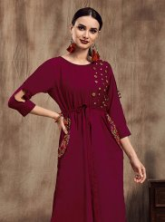 Magenta Muslin Party Party Wear Kurti