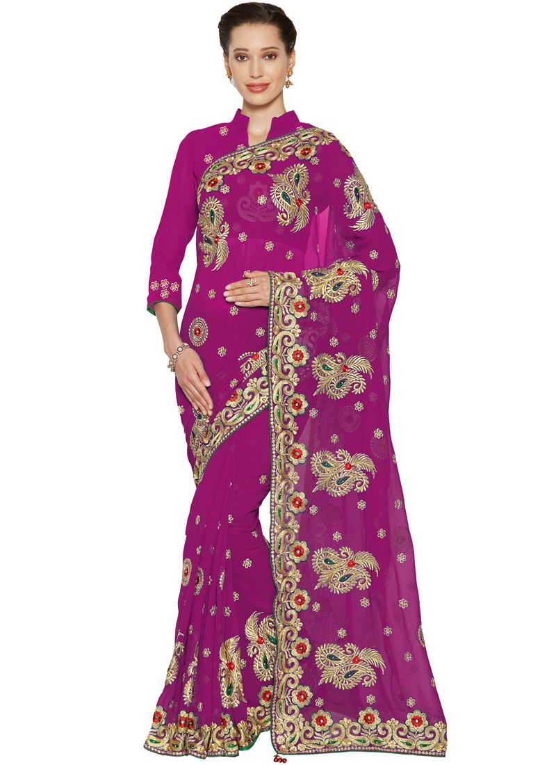 Magenta Party Faux Georgette Saree