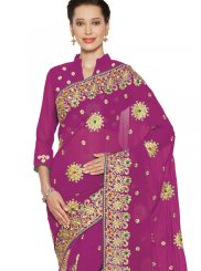 Magenta Patch Border Trendy Saree