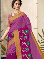 Magenta Print Party Shaded Saree