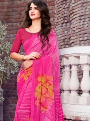 Magenta Printed Georgette Casual Saree