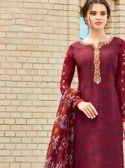 Magenta Resham Churidar Designer Suit