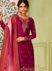 Magenta Resham Georgette Pant Style Suit
