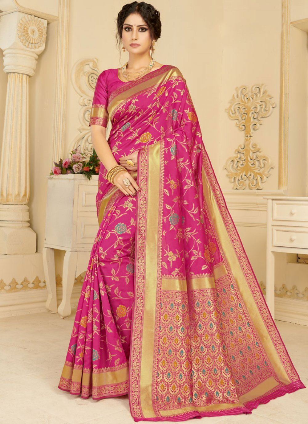 Magenta Silk Woven Casual Saree