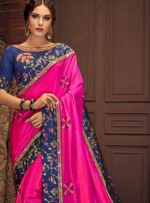 Magenta Thread Work Silk Saree