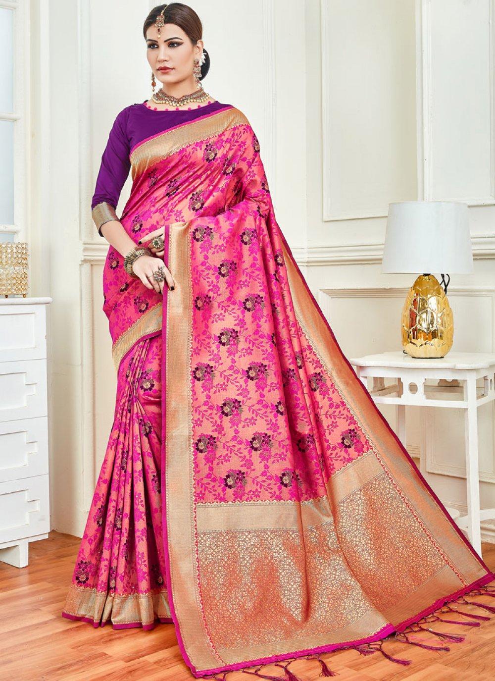 Magenta Weaving Art Silk Silk Saree