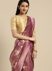 Magenta Weaving Art Silk Trendy Saree