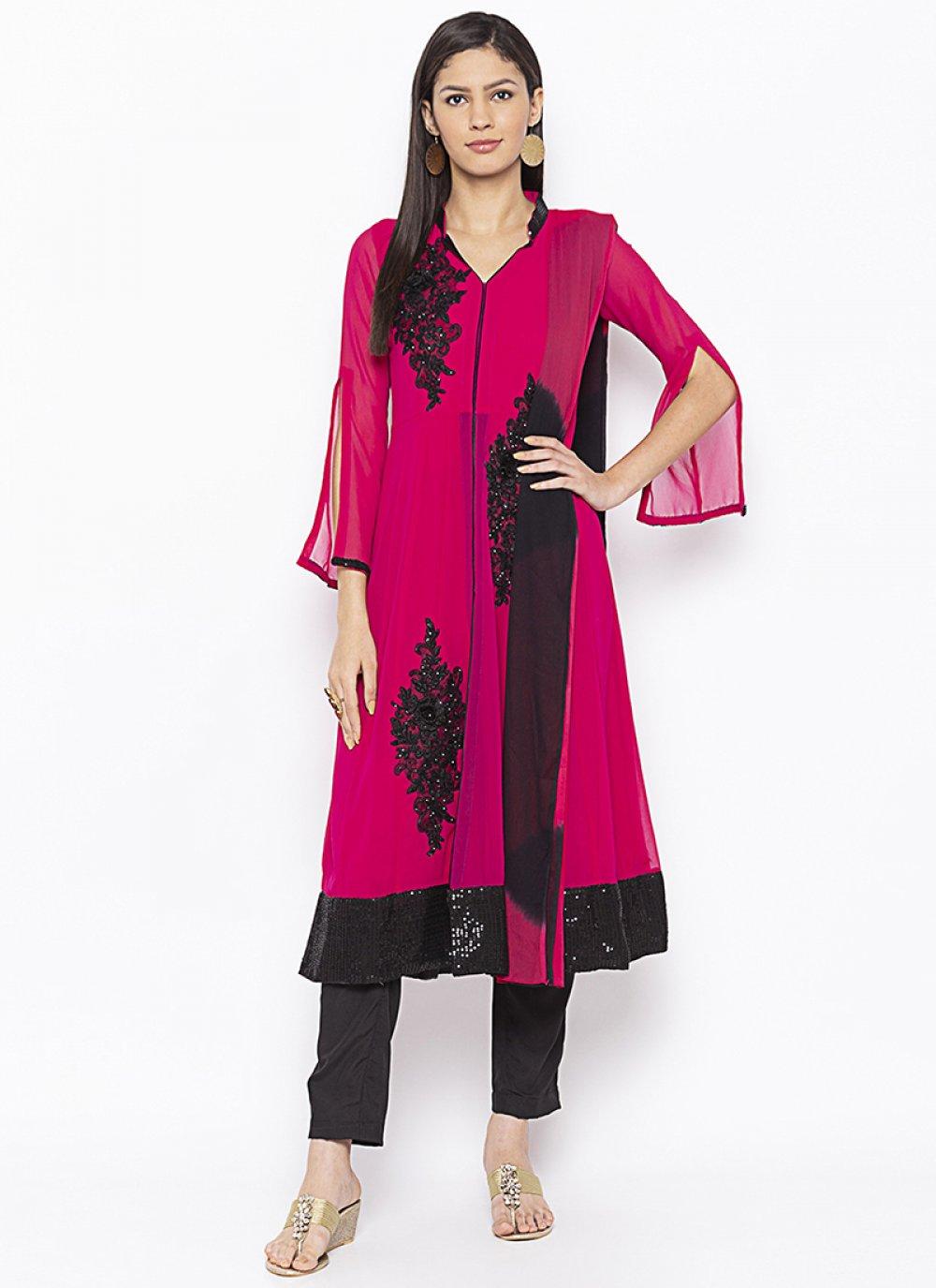 Magenta Weaving Georgette Salwar Kameez
