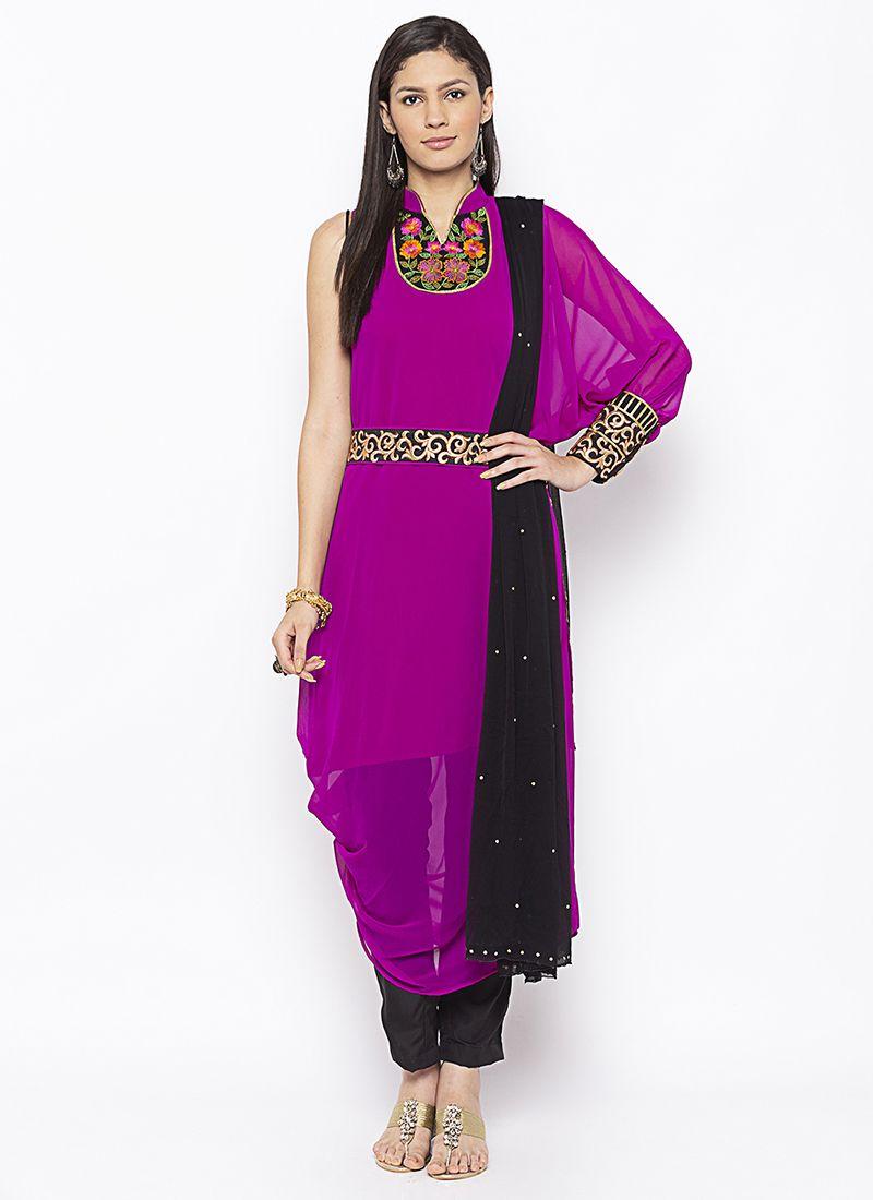 Magenta Weaving Salwar Kameez