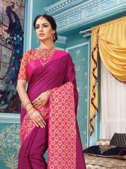 Magenta Woven Traditional Saree