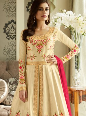 Malbari Silk  Cream Anarkali Suit
