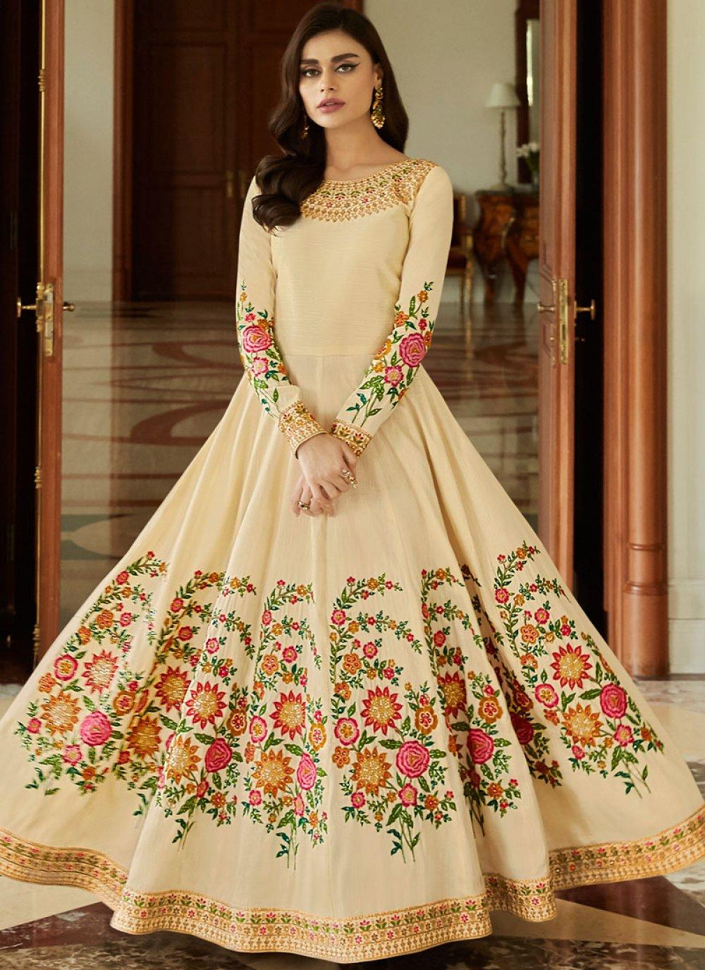 Malbari Silk  Embroidered Anarkali Salwar Suit