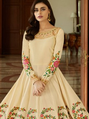Malbari Silk  Embroidered Anarkali Salwar Suit