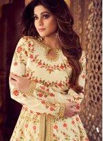 Malbari Silk  Embroidered Cream Designer Lehenga Choli
