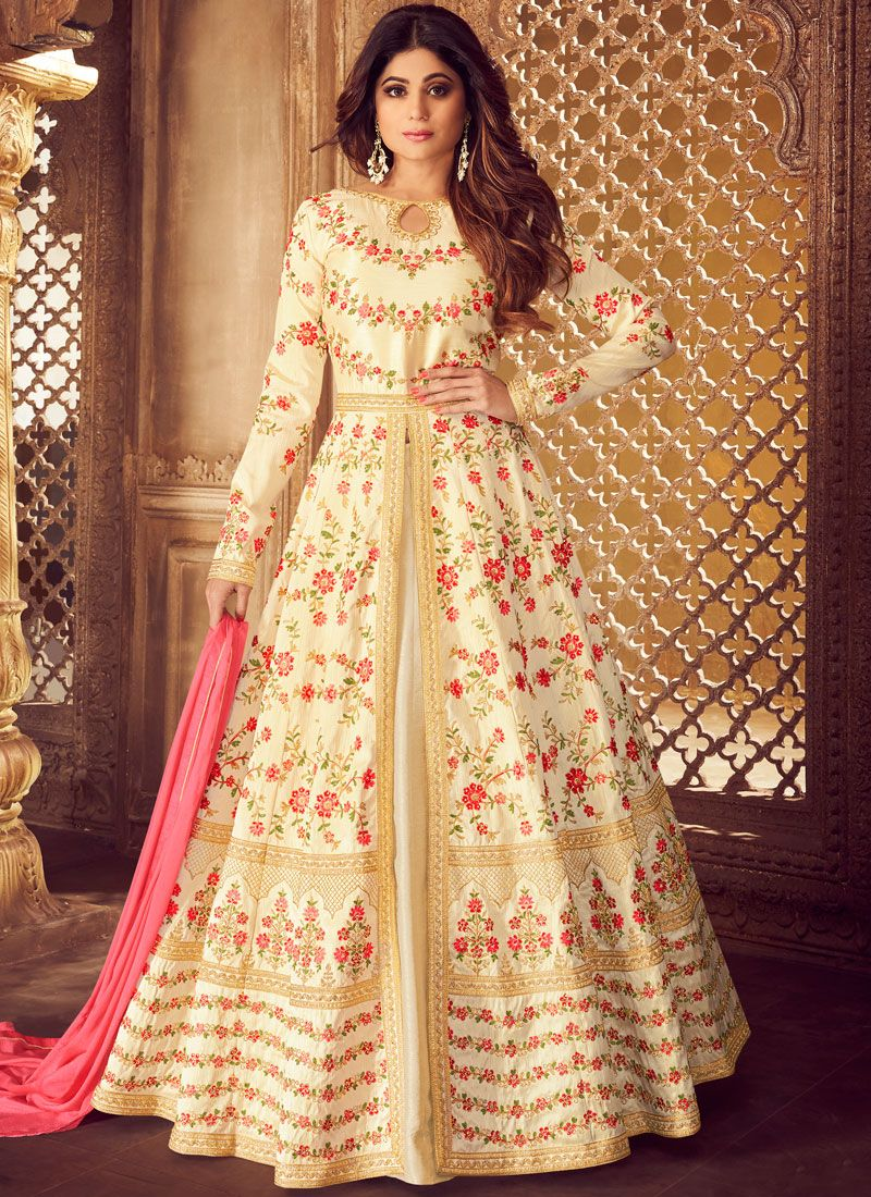 Malbari Silk  Embroidered Cream Designer Lehenga Choli