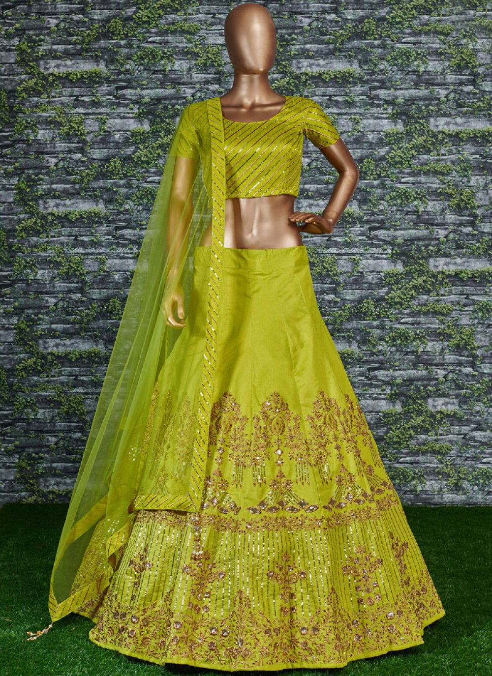 Malbari Silk  Embroidered Lehenga Choli in Green
