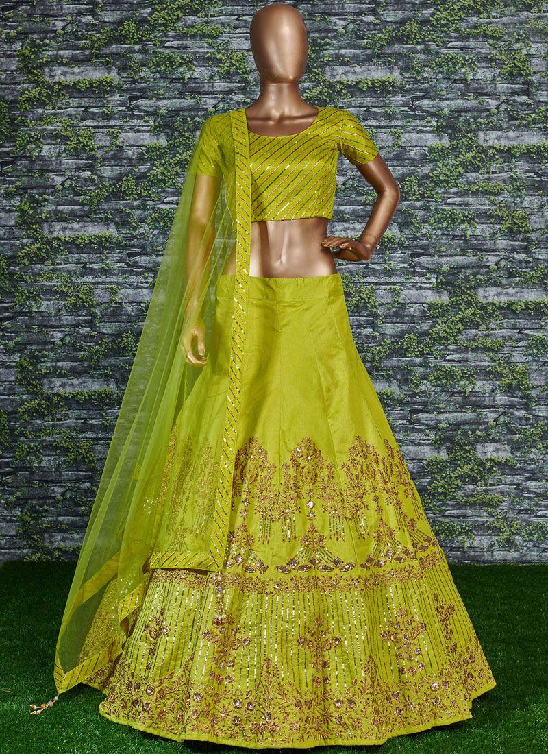Malbari Silk  Embroidered Lehenga Choli in Green