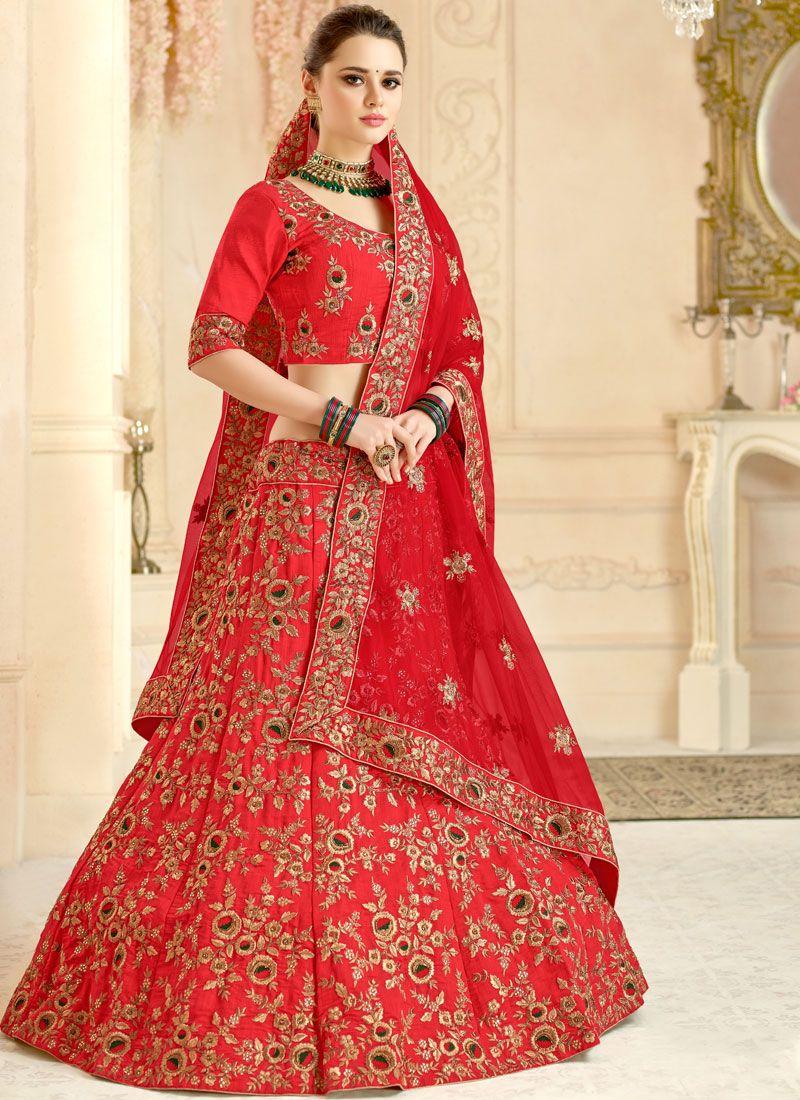 Malbari Silk  Lace Red Lehenga Choli