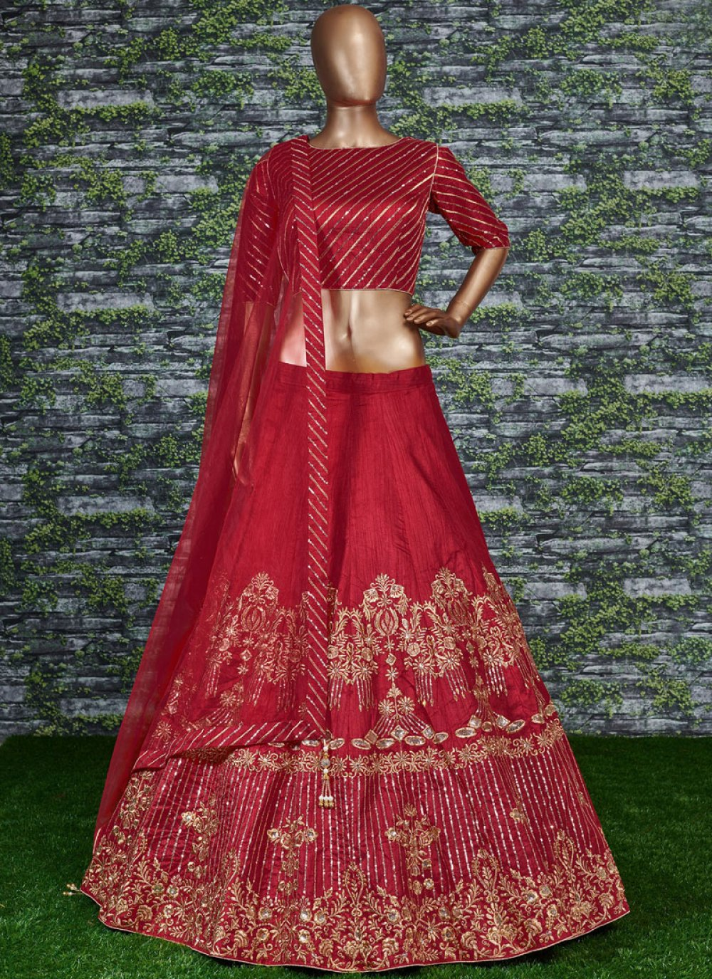 Malbari Silk  Lehenga Choli in Red