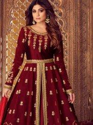 Malbari Silk  Maroon Embroidered Designer Lehenga Choli