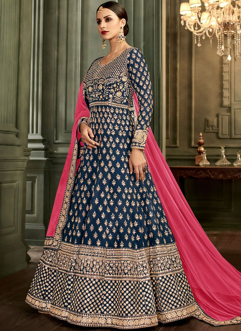 Malbari Silk  Navy Blue Anarkali Salwar Suit