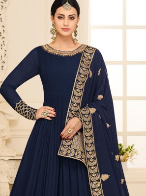 Malbari Silk  Resham Blue Anarkali Suit
