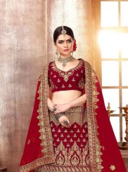 Malbari Silk  Stone Work Designer Lehenga Choli in Red