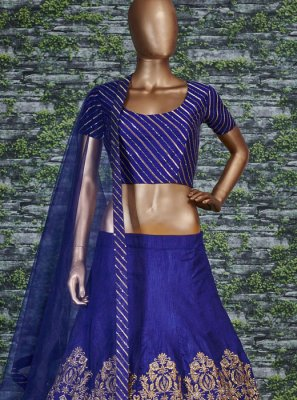 Malbari Silk  Zari Blue Lehenga Choli